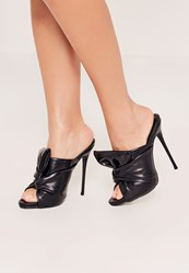 Missguided Black Knotted Front Mule Heeled Sandals