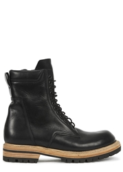 Rick Owens Black Lace Up Leather Boots