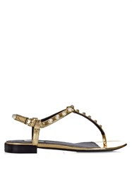 Balenciaga Giant Studded T Bar Leather Sandals Gold