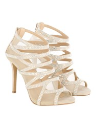 Jane Norman Diamante Cage Heels Beige