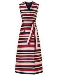 Tome Red Satin Stripe Sleeveless Trench Coat