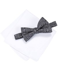 Alfani Spectrum Men's Pleasant Vine Pre Tied Bow Tie And Pocket Square Set Only At Macy's Black