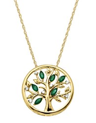 Lord And Taylor 14Kt. Yellow Gold Diamond Emerald Pendant Necklace Emerald Gold