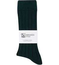 Johnstons Ribbed Cashmere Blend Socks Bottle Green