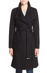 Women's Ted Baker London 'Lorili' Funnel Neck Wool Blend Wrap Coat Black