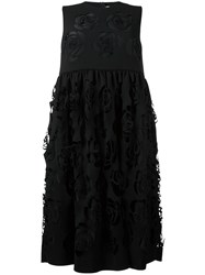 Msgm Floral Cut Out Dress Black
