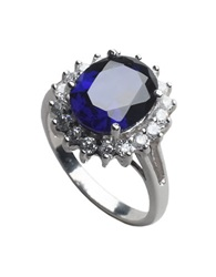 Lord And Taylor Sterling Silver And Cubic Zirconia Oval Cocktail Ring Sapphire