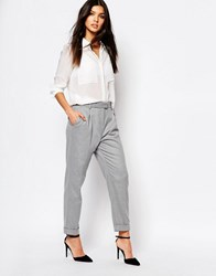 Mango Tailored Peg Pants Light Pastel Grey