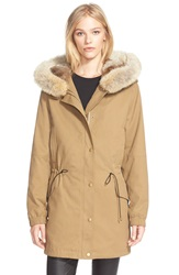 Vince Genuine Fur Trim Drawstring Waist Parka Brass Khaki