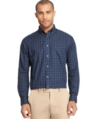 Van Heusen Long Sleeve Windowpane Shirt Blue Black Iris