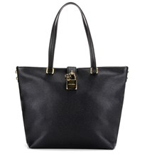 Dolce And Gabbana Large Leather Shopper Black