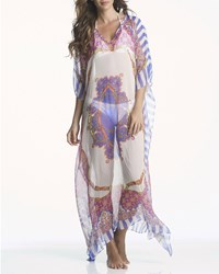 Ondademar Printed Sheer Silk Kaftan Coverup Esse