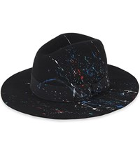 Sensi Studio California Splash Detail Wool Felt Fedora Hat Black