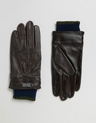 Ted Baker Gloves In Leather Brown