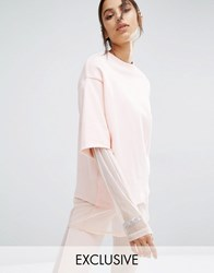 Bones Oversized Double Layer Crew Neck Sweatshirt Pink
