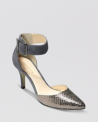 Cole Haan Pointed Toe D'orsay Pumps Memphis High Heel Stormcloud Silver