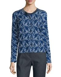 Escada Floral Lace Print Cardigan Midnight Black Women's