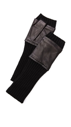Carolina Amato Fingerless Knit And Leather Gloves Black Black