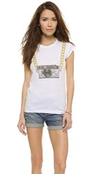 Happiness Chain Camera Tee White