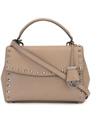 Michael Michael Kors Small 'Ava' Studded Satchel Brown