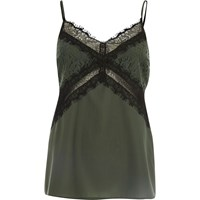 River Island Womens Green Lace Trim Cami Top