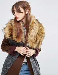 Asos Oversized Knit Scarf And Faux Fur Mix Grey Green
