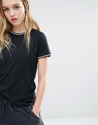Daisy Street T Shirt In Speck With Neck Rib Contrast Black