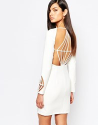 The 8Th Sign Pencil Dress With Diamond Cut Out Back White