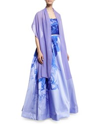 Monique Lhuillier Strapless Sweetheart Neck Ombre Floral Print Ball Gown Periwinkle
