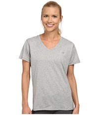 New Balance Heathered V Neck Top Athletic Grey Women's Workout Gray