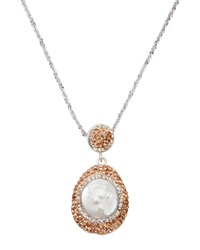 Zsa Zsa Pearl And Peach Swarovski Crystal Pendant Necklace