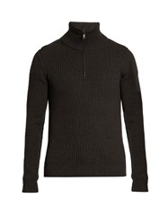 Dolce And Gabbana Funnel Neck Wool Sweater Dark Grey