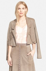 Halston Suede Leather Jacket Moss