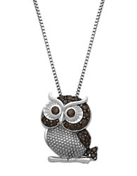 Lord And Taylor Sterling Silver Smokey Quartz Owl Pendant Necklace Smokey Quartz Black