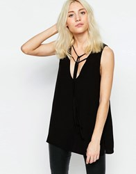 Neon Rose Tunic Top With Tie Neck Detail Black