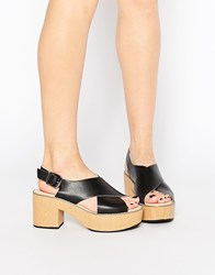 Park Lane Cross Strap Platform Sandals Bk1 Black 1