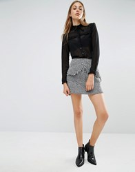 Lost Ink Tweed Mini Skirt With Front Pockets Grey