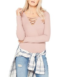 Miss Selfridge Ribbed V Neck Lattice Long Sleeve Knit Top Pink