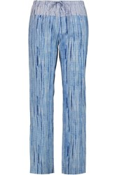 Tory Burch Shibori Printed Cotton Poplin Wide Leg Pants Blue