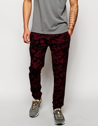 Farah Vintage Joggers With Paint Smudge Print Bordeaux