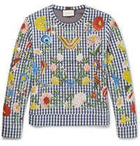 Gucci Floral Embroidered Gingham Neoprene Sweatshirt Blue