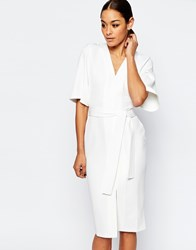 Asos Clean Obi Wrap Dress With V Front Cream