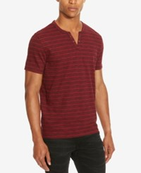 Kenneth Cole Reaction Men's Striped Eyelet Henley Sedona Red