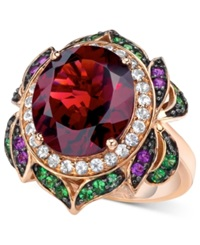 Le Vian Garnet 7 5 8 Ct. T.W. And Multi Stone Round Flower Ring In 14K Rose Gold