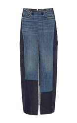 Tome Denim Front Slit Pencil Skirt With Patches Blue