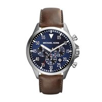 Michael Kors Gage Brown Leather Mens Military Watch