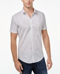 Calvin Klein Men's Solid Seersucker Short Sleeve Shirt White