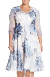 Plus Size Women's Komarov V Neck Floral Chiffon And Charmeuse A Line Dress