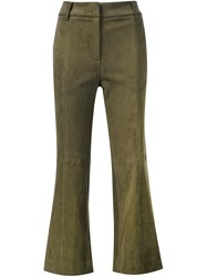 Tibi Flared Cropped Trousers Green
