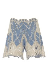 Jonathan Simkhai Crochet Embroidered Short Blue